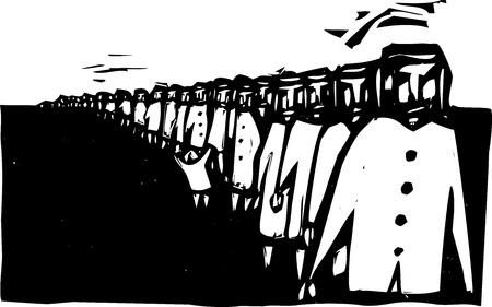 Lange rij van mensen gesmolten in een ruwe stijl in de rij wachten