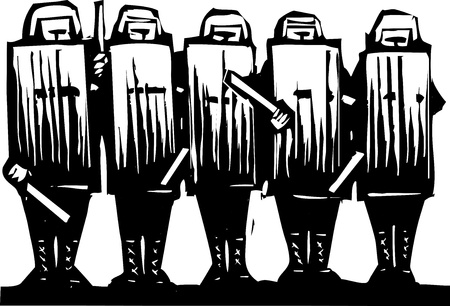 corrupted: Line of riot police with batons and shields  Illustration