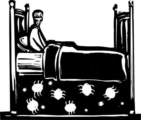 자신의 침대 아래 빈대를 두려워하는 어린 소년
