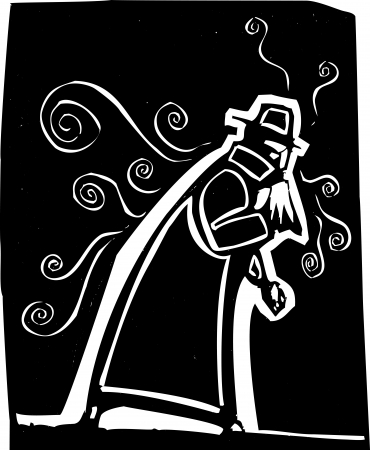 Man in trench coat blowing his nose spreading cold or flu Stock Vector - 14133865