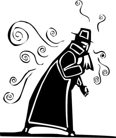 風邪やインフルエンザを広める彼の鼻を吹いているトレンチ コートの男  イラスト・ベクター素材