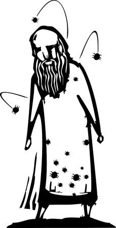 homelessness: Uomo anziano con insetti infestanti i suoi vestiti