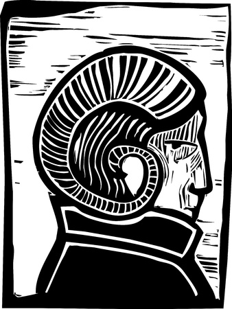 bacchus: Profile of a man with Rams Horns on his head  Illustration