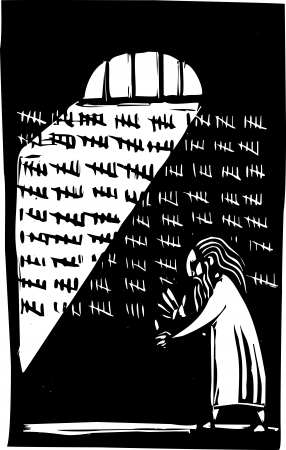 Old man in prison counting the days on a wall
