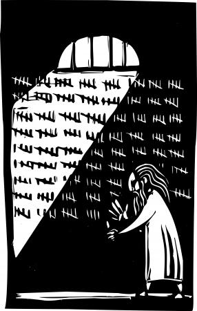 Oude man in de gevangenis het tellen van de dagen op een muur