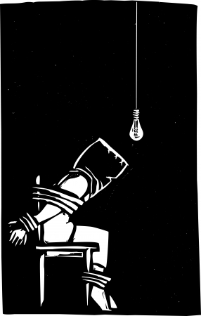 strapped: Person strapped to chair with bag over their head in interrogation scene  Illustration