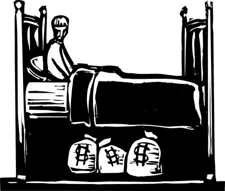 人はベッドの下の袋に彼のお金を節約