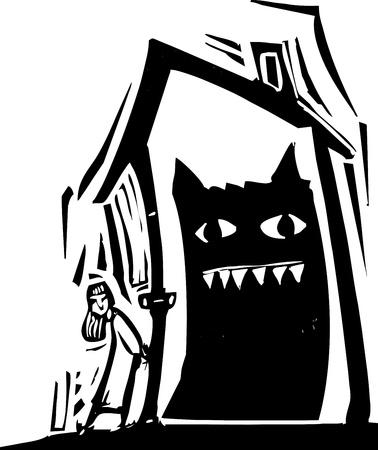 Girl locks a monster inside of a house
