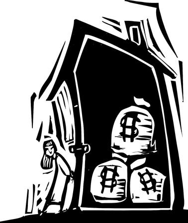 Girls locks up a house with money bags inside Illusztráció
