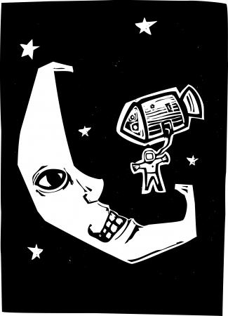三日月顔の着陸の宇宙カプセルで宇宙飛行士