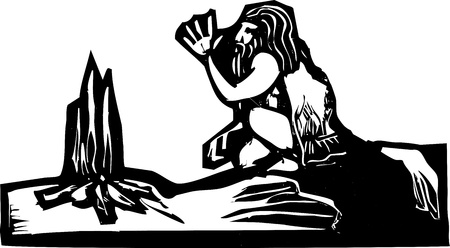 himself: Early Caveman warming himself by a small fire  Illustration