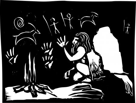 groty: Malowanie obrazów Caveman na ścianach jaskini