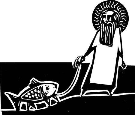 God taking a walk with a Darwin legged fish