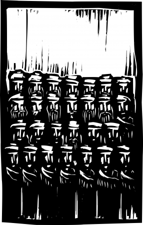 Group of Muslim men with beards in woodcut style image