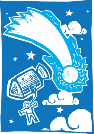 Woodcut style astronaut in space with comet  Illustration