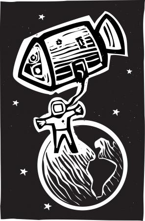 Woodcut style astronaut in orbit of the earth  Ilustracja