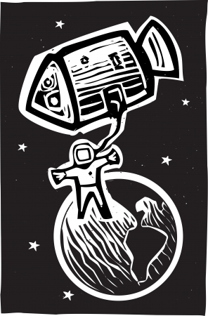 Woodcut style astronaut in orbit of the earth  Stock Vector - 14560876