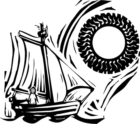 Woodcut style image of a girl in a sailing boat under a sun  Vettoriali