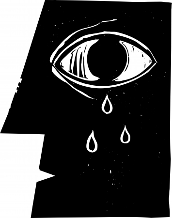 Profile woodcut style image of a crying eye with tears
