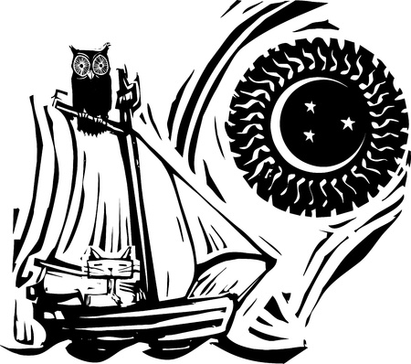 Owl and cat on a boat under the moon and stars  Illustration