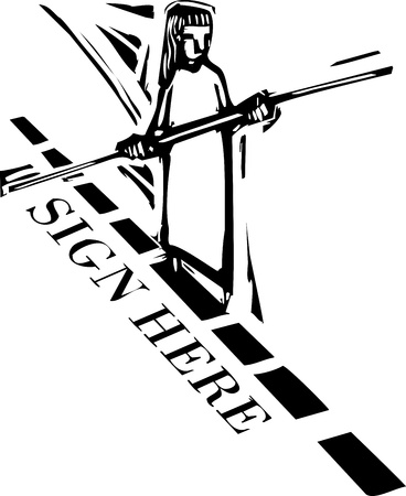 tightrope: Person walking a tightrope on the dotted line of a contract Illustration
