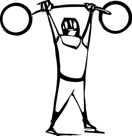 Woodcut style image of a circus strong man lifting heavy weights