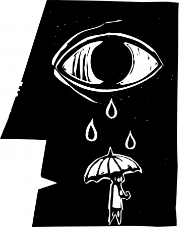 Tears from a profile of a face fall on an umbrella carrying person