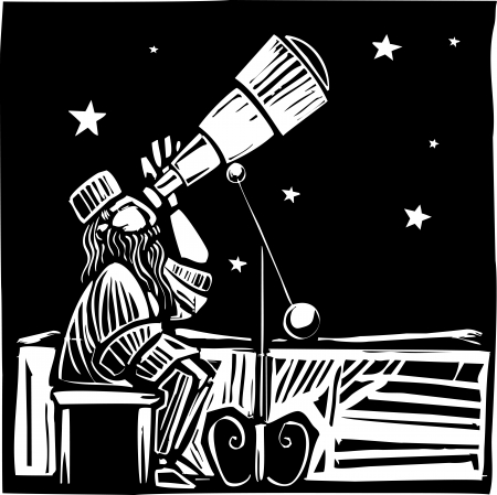 Woodcut style Persian astronomer watching the the sky  Illustration