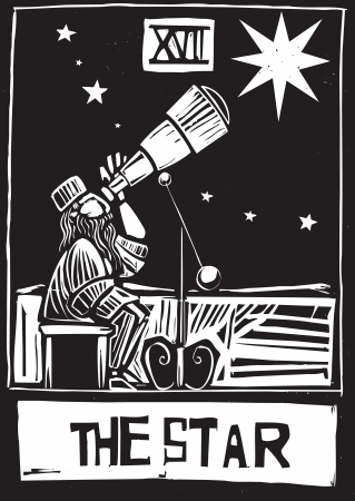 astronomer: Woodcut style Tarot card for the Star