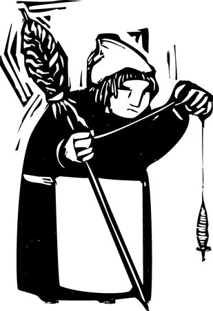 spindle: woodcut style image of an old woman with a spindle spinning thread