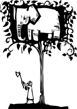 도끼가에서 코끼리와 함께 나무를 베고있는 여자 일러스트