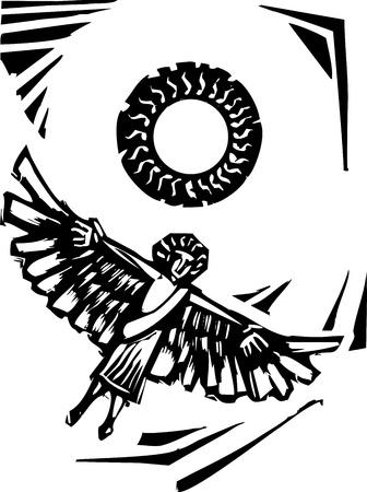 날개 달린 이카루스 점점 그리스 신화는 태양을 닫습니다