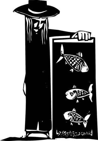 fish tank: Fish in fish tank being watched by person  Illustration