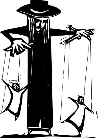 Burattinaio donna, esibendosi con due pupazzi Vettoriali