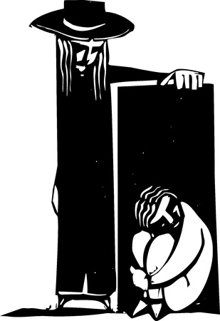 woodcut: Depressed person hiding in a box being found by another