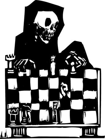 leven en dood: Beeld van de dood spelen schaak in een houtsnede stijl