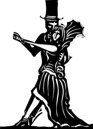 romance: Goth couple in fancy dress dancing a tango  Illustration