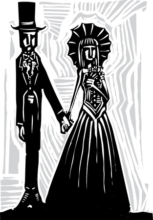 romance: A Gothic couple in fancy dress getting married or going to prom