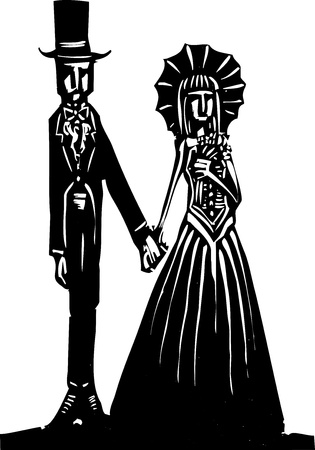 A Gothic couple in fancy dress getting married or going to prom