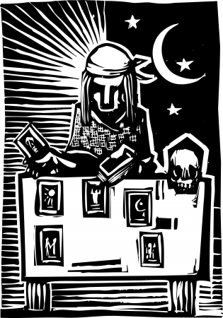 Woodcut style image of a gypsy giving a tarot reading