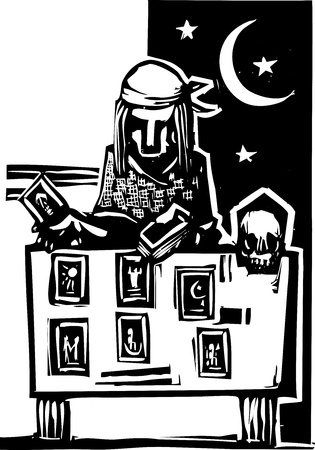 Woodcut style image of a gypsy giving a tarot reading  Stock Vector - 14919452