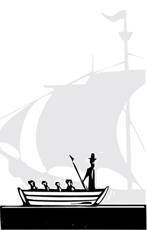 Woodcut style whaling boat and a sailing ship  Vector