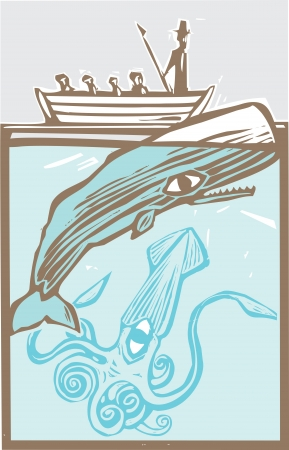 whaling: Whaling boat with harpoon hunts a whale with giant squid