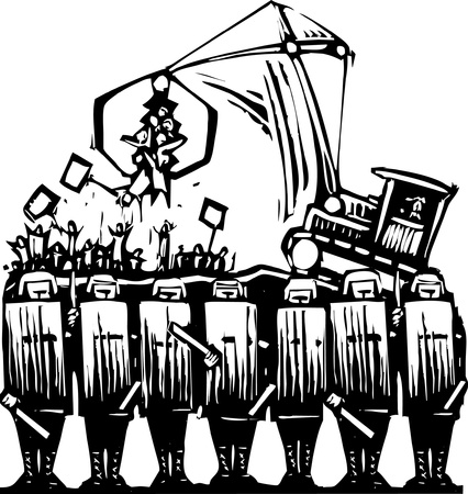 corrupted: Riot police block access to protest being broken up  Illustration