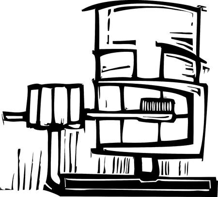 higiene bucal: Primer plano de un hombre un estilo expresionista cepillarse los dientes Vectores