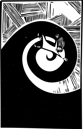 Woman falling into a spiral in woodcut style