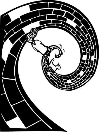 Meisje en hond lopen op een spiraal weg in De Tovenaar van Oz verwijzing Vector Illustratie