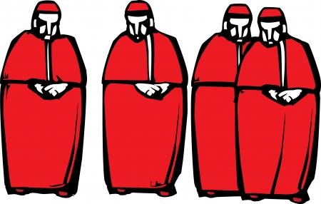 pr�tre: Image de style de gravure sur bois de quatre cardinaux catholiques Illustration
