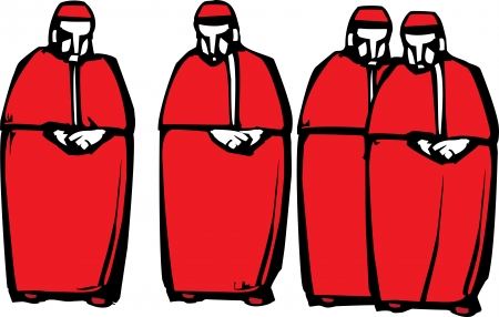 Woodcut style image of four Catholic Cardinals