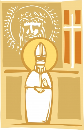 Woodcut style image of the Catholic Pope with Cross and Christ
